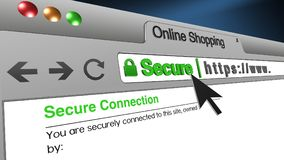 3D Illustration Online Shopping SSL Secure Browser. High resolution 3d illustration of SSL Secure Browser with text Online Shopping Secure. Great conceptual Royalty Free Stock Photography