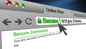 3D Illustration Online Store SSL Secure Browser. High resolution 3d illustration of SSL Secure Browser with text Online Store Secure. Great conceptual image for Royalty Free Stock Photography