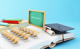 3d Open book with objects. Education concept. 3d illustration. Open book with graduation cap, Classroom, pencils and rolled diploma. Education concept Stock Photo