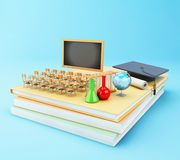 3d Open book with objects. Education concept. 3d illustration. Open book with graduation cap, Classroom, pencils and rolled diploma. Education concept Royalty Free Stock Photo