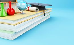3d Open book with objects. Education concept. 3d illustration. Open book with graduation cap, Classroom, pencils and rolled diploma. Education concept Royalty Free Stock Image
