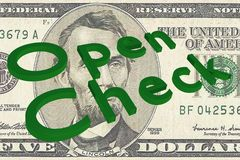 Open Check - business concept. 3D illustration of Open Check title on Five Dollars bill as a background Royalty Free Stock Photos