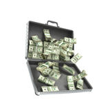 3d illustration open metal case with money Royalty Free Stock Photos