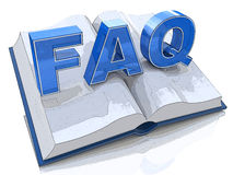 3d illustration of opened book with FAQ sign Royalty Free Stock Photos