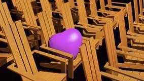 Orange Adirondack chairs. 3D illustration orange Adirondack chairs with pink heart Stock Photos