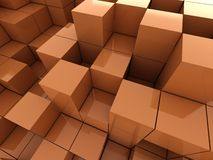 3d illustration of orange cubes. Abstract of 3d orange cubes, blocks background Stock Photography