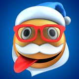 3d orange emoticon smile with Christmas hat. 3d illustration of orange emoticon smile with Christmas hat over blue background Royalty Free Stock Photos