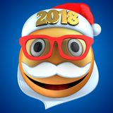 3d orange emoticon smile with 2018 Christmas hat. 3d illustration of orange emoticon smile with 2018 Christmas hat over blue background Stock Photo