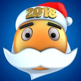 3d orange emoticon smile with 2018 Christmas hat. 3d illustration of orange emoticon smile with 2018 Christmas hat over blue background Stock Photography