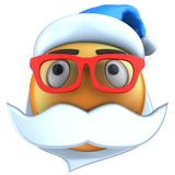 3d orange emoticon smile with Christmas hat Royalty Free Stock Images