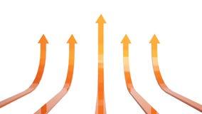 3d illustration of orange rising arrows. 3d illustration of orange arrows rising together Stock Images