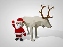 3D illustration of origami christmas reindeer and Santa Claus. Polygonal deer and santa cartoon characters Stock Images