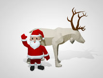 3D illustration of origami christmas reindeer and Santa Claus. Polygonal deer and santa cartoon characters Royalty Free Stock Photo