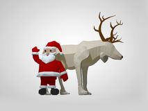 3D illustration of origami christmas reindeer and Santa Claus. Polygonal deer and santa cartoon characters Royalty Free Stock Image