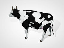 3D illustration of origami cow. Polygonal geometric style cow standing full-length Holstein black and white cow Royalty Free Stock Photo