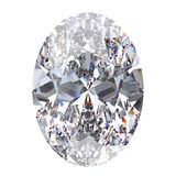 3D illustration oval diamond stone. On a white background Royalty Free Stock Photos