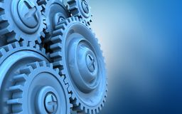 3d blank. 3d illustration of  over blue background with blue gears Stock Photo