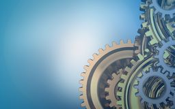 3d blank. 3d illustration of  over blue background with gears system Royalty Free Stock Photography