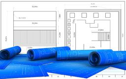 3d blank. 3d illustration   over blueprint background Stock Photos