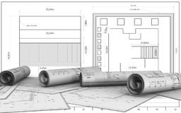 3d blank. 3d illustration   over blueprint background Stock Images