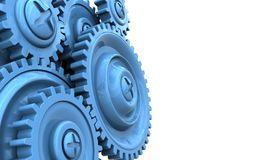 3d blank. 3d illustration of  over white background with blue gears Royalty Free Stock Images