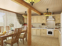 3d illustration сozy kitchen in the house of the carcass. 3d render сozy kitchen in the house of the carcass Stock Photo