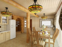 3d illustration сozy kitchen in the house of the carcass. 3d render сozy kitchen in the house of the carcass Stock Photos