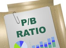 P/B ratio concept. 3D illustration of P/B RATIO title on business document Royalty Free Stock Images