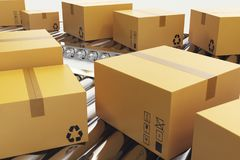 3D illustration Packages delivery, packaging service and parcels transportation system concept, cardboard boxes on. Conveyor belt Royalty Free Stock Image