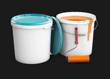 3d illustration of Paint cans with roller isolated black.  Royalty Free Stock Images