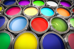 3D illustration of paint pots. Multicolored Royalty Free Stock Images