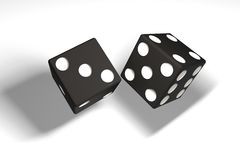 3d illustration: a pair of black dice hung in the air after being thrown. Shadow. White background. 3d illustration: a pair of black dice hung in the air after Royalty Free Stock Photography