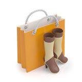 3d illustration. A pair of women's shoes. And a paper bag. Buy women's shoes Stock Photos