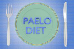PALEO DIET concept. 3D illustration of PALEO DIET title on a white plate, along with silver knif and fork, on a colorful background Stock Photos