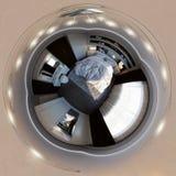 3d illustration, panorama 360 av sovruminre Arkivbild