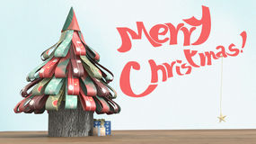 3D Illustration of a paper christmas tree, with presents on wood floor and christmas wishes. Stock Images