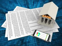 3d bank. 3d illustration of papers and bank over digital background Royalty Free Stock Photo