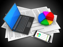 3d black laptop. 3d illustration of papers and black laptop over black background with pie chart Royalty Free Stock Photography