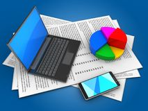 3d black laptop. 3d illustration of papers and black laptop over blue background with pie chart Stock Images
