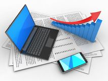 3d black laptop. 3d illustration of papers and black laptop over white background with arrow graph Stock Photo