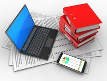 3d black laptop. 3d illustration of papers and black laptop over white background with binder folders Stock Photos