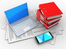 3d computer. 3d illustration of papers and computer over white background with binder folders royalty free illustration