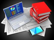 3d pc. 3d illustration of papers and pc over black background with binder folders Royalty Free Stock Photo