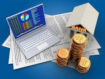 3d bank. 3d illustration of papers and pc over blue background with bank Stock Image