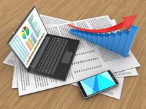 3d arrow graph. 3d illustration of papers and personal computer over wood background with arrow graph Royalty Free Stock Photography