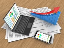 3d arrow graph. 3d illustration of papers and personal computer over wood background with arrow graph Stock Photography