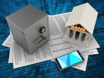3d safe. 3d illustration of papers and safe over digital background with bank Stock Images