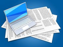 3d blank. 3d illustration of papers and white laptop over blue background Royalty Free Stock Image