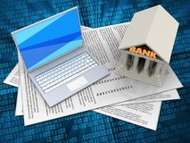 3d blank. 3d illustration of papers and white laptop over digital background with bank Stock Photos