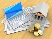3d bank. 3d illustration of papers and white laptop over wood table background with bank Royalty Free Stock Photos